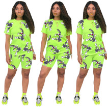 Anime Rabbit Print Shorts Two Piece Set