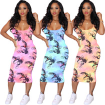 Tie Dye Rabbit Print Straps Midi Dress