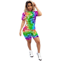 Casual Tie-dye Printed Shorts Sports Suits
