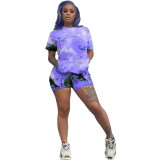 Casual Tie-dye Printed Two Piece Set