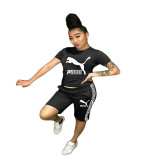 Casual Embroidery Stitching Short Sleeve Sports Two Piece Set