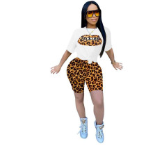 Casual Sports Leopard Stitching Short Sets