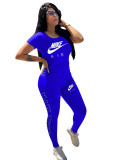Casual Short Sleeve Embroidery Sports Two Piece Set