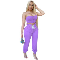 Strapless Zipper Lace-up Two Piece Harem Casual Sports High Waisted Trousers
