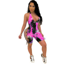 Tie Dye Strap Hollow Printed Sexy Romper
