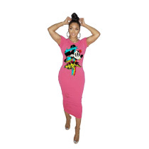 Anime Print Pullover Midi Dress