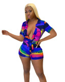 Casual Colorful V Neck Romper with Belt