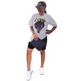 Casual Animal Print T-shirt Shorts Set