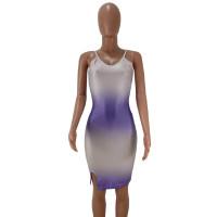 Straps V-neck Print Club Dress