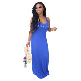 Solid Color Sleeveless Swing Maxi Dress