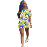 Casual Cartoon Pattern Printed Two Piece Set