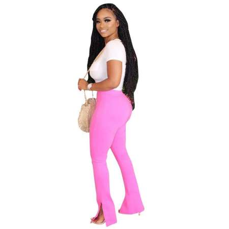 Solid Color Split Trousers