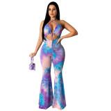 Sexy Halter Printed Jumpsuit