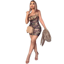 Camouflage Camisole Stacked Sexy Dress