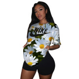 Casual Print Letter Two Piece Shorts Set