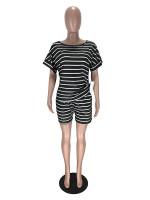 Casual Striped Two Piece Loungewear Short Set