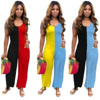 Casual Contrast Color Stitching Sleeveless Jumpsuit