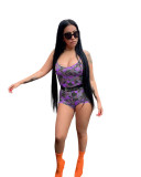 Casual Straps Camouflage Romper