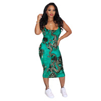 Casual Graphic Print Midi Dress