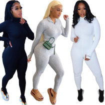 Soft Rib Stretch Long Sleeve Jumpsuit
