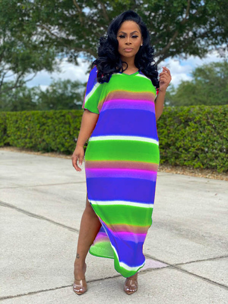 Solid color Printed Slit Loungewear Maxi Dress
