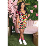 Casual Print Short Two Piece Set