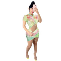 Casual Tie-Dye Drawstring Pleated Stacked Top and Short Skirt