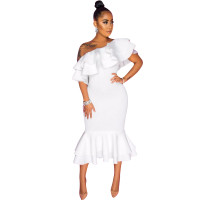 Casual One Shoulder Irregular Ruffled Midi Dress