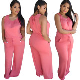 Solid Color Sleeveless Jumpsuit with Pocket