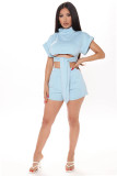 Solid Color Bandage Crop Top and Shorts