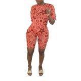 Casual Print Activewear Shorts Set