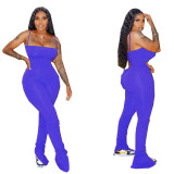 Solid Color Pleated Split Micro Straps Stacked Jumpsuit