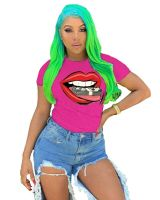 Casual Printed Lips T-shirt