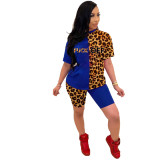 Casual Leopard Stitching Letters Shorts Set