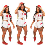 Casual Letter Baseball Jersey Shorts Set