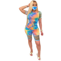 Casual Tie-dye Burnt Two Piece Set