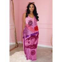 Casual US Dollar Print Straps Maxi Dress