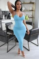Solid Color Straps Halter Maxi Dress