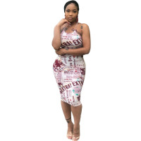 Casual Newspaper Print Straps Midi Dress
