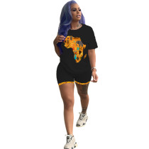 Casual Africa Map Printed Sports Shorts Set