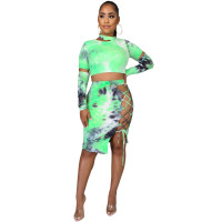 Casual Tie-dye Printed Crop Top and Bandage Midi Skirt