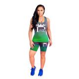 Alphabet Print Gradient Sports Shorts Outfits