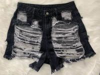 Classic Fringe Hole Denim Shorts
