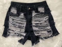 Classic Fringe Hole Denim Shorts