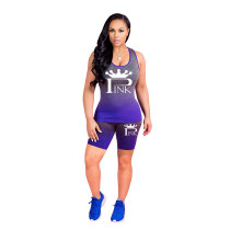 Alphabet Print Gradient Sports Shorts Outfits