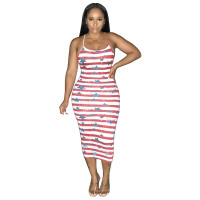 Casual Print Star Striped Cross Strap Midi Dress
