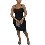 Solid Color Straps Cross-shoulder Sexy Dress
