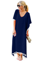 Summer V Neck Tassel Chiffon Beach Maxi Dress