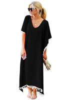 Summer V Neck Tassel Chiffon Beach Maxi Dress