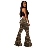 Camouflage Denim Bell-bottom Jeans